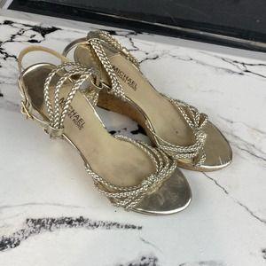 Michael Kors Gold Cork Wedge Sandals 9